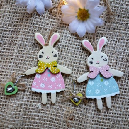Beautiful Wooden Bunny Pair